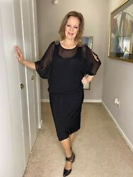 Ramp;M Richards Woman Black Party Dress Plus Size 14W $11.25