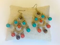 Chandelier Fashion Earrings Boho Style Blue Red Brown Wood Beads $9.99