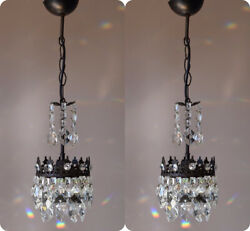 Two Matching Antique Crystal ChandeliersVintage Kitchen Hallway Lighting Lamp GBP 720.00