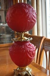 Antique Vintage GWTW Red Cranberry Iris Hurricane Gone with the Wind Lamp LARGE $995.00
