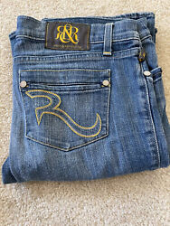 Rock amp; Republic Womens Low Rise Boot Cut Jeans yellow pocket design sz 29 $25.00