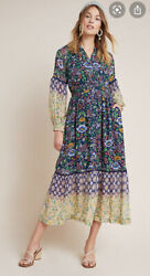 Maeve By Anthropologie Ondine Boho Floral Dress Maxi Size MP NWT $90.00
