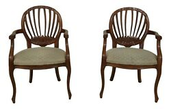 51192EC: Pair CENTURY French Style Open Arm Chairs $895.00
