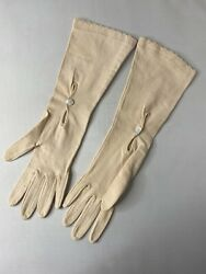 Vintage Ladies Pink Mother Of Pearl Gloves Mother Of Pearl Buttons Gloves $9.99