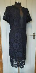 Phase Eight navy blue lace overlay shift dress size 18 darena midi plus party GBP 38.95