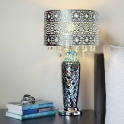 Table Lamps for Living Room Bohemian Glam Crystal Metal Mosaic Blue Silver 24quot; H $199.95