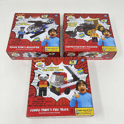 Ryan's World Helicopter Fire Truck Bulldozer Building Block Sets Set Of 3 New $21.95