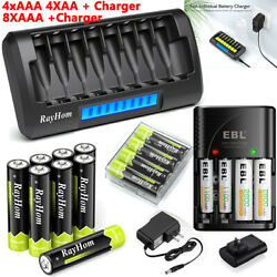AA AAA Rechargeable Batteries NiMH 1.2V AA AAA Battery LCD Smart Fast Charger $20.99