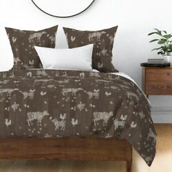 Barn Wood Floor Modern Farmhouse Animals Country Sateen Duvet Cover by Roostery $224.00