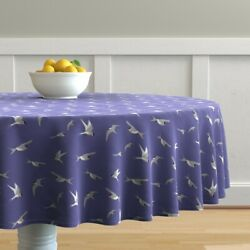 Round Tablecloth Birds Sky Flying Flight Blue Violet Blue Sea Cotton Sateen $124.00