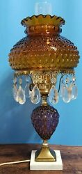 Vintage Lamp Hobnail Amber Glass Shade Purple Body Marble Base 19.5quot; Tall Prisms $42.99