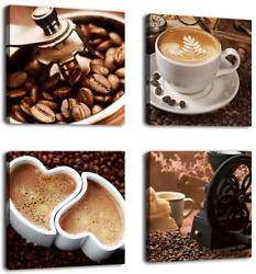 Kitchen Canvas Wall Art Coffee Bean Coffee Cup Coffee Grinder Canvas Pictures La $33.99