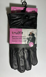New TruFit Ladies Insulated Black Leather Touchscreen Gloves One Size $12.99