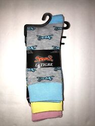 Le Tigre Mens 6 12 Socks Polyester spandex Mix Blue Yellow amp; Pink W Tigers $11.39