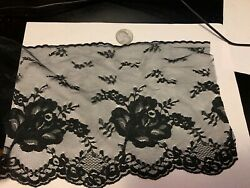 7 inch wide delicate black lace with rose motif
