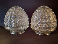 2 MCM Antique Vintage Clear Glass Bubble or Rosettes Replacement Shades Globes $17.95