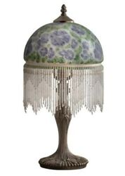 Victorian Trading Pansy Parlor Milk Glass Lamp w Beads Blue White Green $119.95