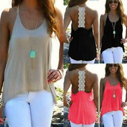 Womens Beach Tank Tops Vest Sleeveless Blouse Lace Back Casual T Shirts Tunic $7.78