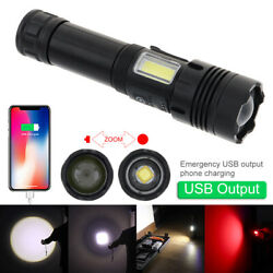 LED Flashlight Rechargeable USB Zoomable with Micro Charging for Hunting Camping $20.95