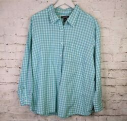 Lands End Plus 3X Teal Blue Gingham Check Button Front Long Sleeve Top 24 26W $16.95