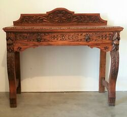 Antique Table Foyer Entry Beautiful Hand Carved Wood Center Drawer $3990.00