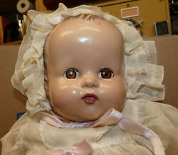 Ideal Baby Doll 18quot; with Sleep Eyes Vintage Antique in White Dress $59.95
