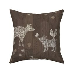 Barn Wood Floor Modern Throw Pillow Cover w Optional Insert by Roostery $44.00