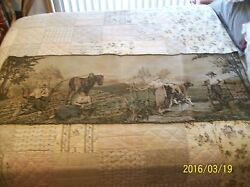 Tapestry Wall Hanging Antique Machine Woven Dutch Farm Couples 5#x27;5quot; x 1#x27;9quot; $1299.99