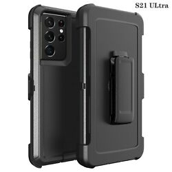 Black For Samsung S21 S21Ultra 5G Defender Case with Clip Fits Otterbox