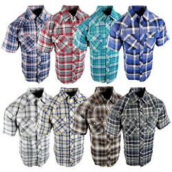 Plaid Shirt Mens Western Snaps Pockets 8 Cool Muted Colors Short Sleeve a $17.95