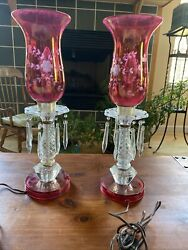 Antique Etched Cranberry Set Of Boudoir Bedroom Lamps With Prisms $260.00