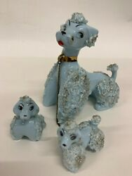 Vintage Blue Spaghetti Trim Poodle with 2 Puppies $20.00