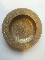 Vintage Brass Plate Solid Ornate Small Etched Flower Design Made In India 567c $13.00