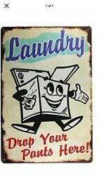 "TIN SIGN quot;Laundry"" Rustic Vintage Humor Cleaning Maid Rustic Decor Mancave Gift $7.35"
