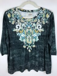 CJ Banks Blouse Green White Floral 3 4 Sleeve Scoop Neck Silky Stretch Plus 3X $9.89