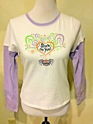 HALLOWEEN Girls Long Sleeve Top Stuck on You Spider Size XL XLarge 14 16 $9.95