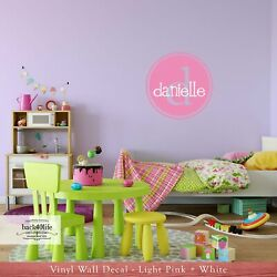 Kids Name with Monogram Double Circle Vinyl Wall Decal M 012 $29.99