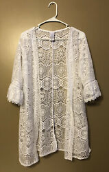 Time And Tru White Lace Cover Up Kimono Cardigan $13.00