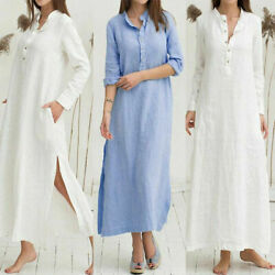 Women Button Down Shirt Dress Loose Casual Dress Long Sleeve OL Maxi Dresses $22.59