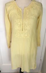 Roberta Freymann yellow cotton blend embroidered cover up tunic top S $24.99