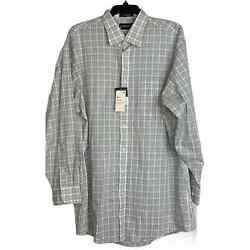 New Stafford Mens Dress Shirt White Blue Green Plaid Size 18 34 35 Fitted $19.99