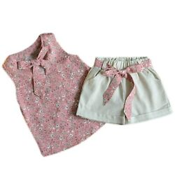 Hinfaesn Summer Girl Clothing Kids Fashion Small Flow Vest Shorts Two Piece Wea $13.00