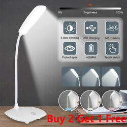 Super Bright Dimmable LED Desk Bedside Reading Lamp Night Light USB Rechargeable $11.97