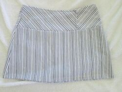 Micro Mini Skirt Short Ladies Women#x27;s Small White Brown Blue Vertical Striped $9.99