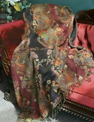 Victorian Trading Co Jasmine Dream Wool amp; Viscose Floral Tapestry Throw $134.96