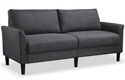 Modern Living Room Sofa Upholstered Couch Linen Fabric Loveseat 75.5quot; Gray Used $239.99