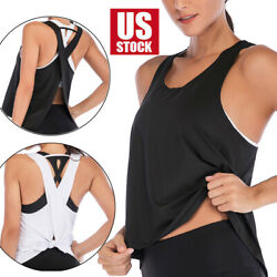 Women Sports Vest Loose Quick Dry Wicking Tank Top Fitness Yoga Gym Shirt USA $10.59