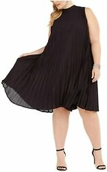 Love Squared Trendy Plus Size Mock Neck Pleated Trapeze Dress Black Size 1X $45.00