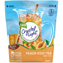 Crystal Light Peach Ice Tea 16 Pitcher Packs Makes 32 Qts Ships FREE USPS $12.15
