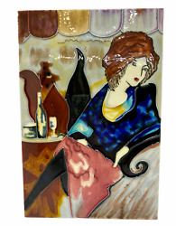 Fused Glass Wall Hanging with Sophisticated Lady 12quot; tall $29.95